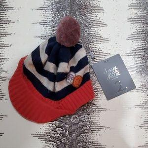 NWT Deux Par Deux Brimmed Winter Hat with Poof